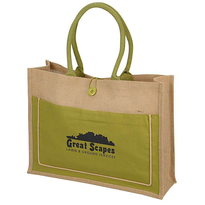 40e665731 4imprint.com  Natural Jute Tote Bag 130745