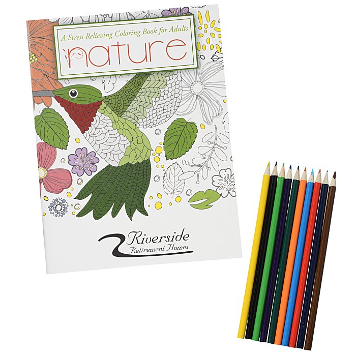 4imprint.com: Stress Relieving Adult Coloring Book & Pencils - Nature  132537-N-SET