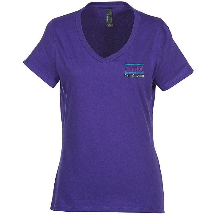 80095caca231 4imprint.com: Hanes Nano-T V-Neck T-Shirt - Ladies' - Colors - Embroidered  103478-L-VN-C-E