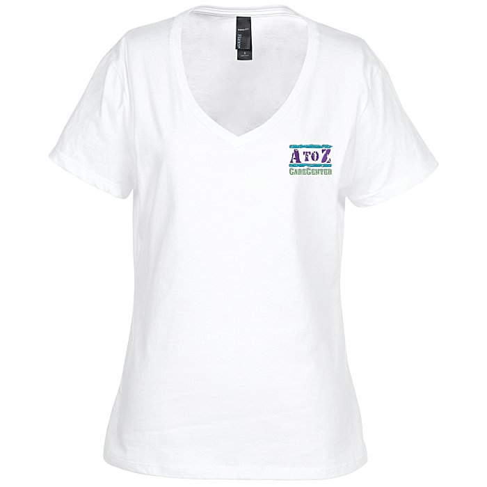 32fee489f11 4imprint.com  Hanes Nano-T V-Neck T-Shirt - Ladies  - White - Embroidered  103478-L-VN-W-E