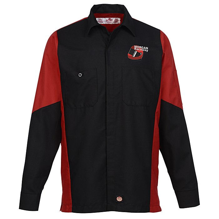 Red kap mechanic crew colorblock shirt for Red kap mechanic shirts