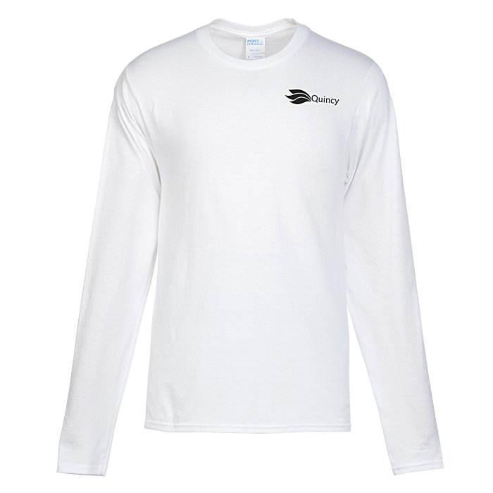 d114be8c 4imprint.com: Team Favorite 4.5 oz. Long Sleeve T-Shirt - Men's - White -  Screen 139127-M-LS-W