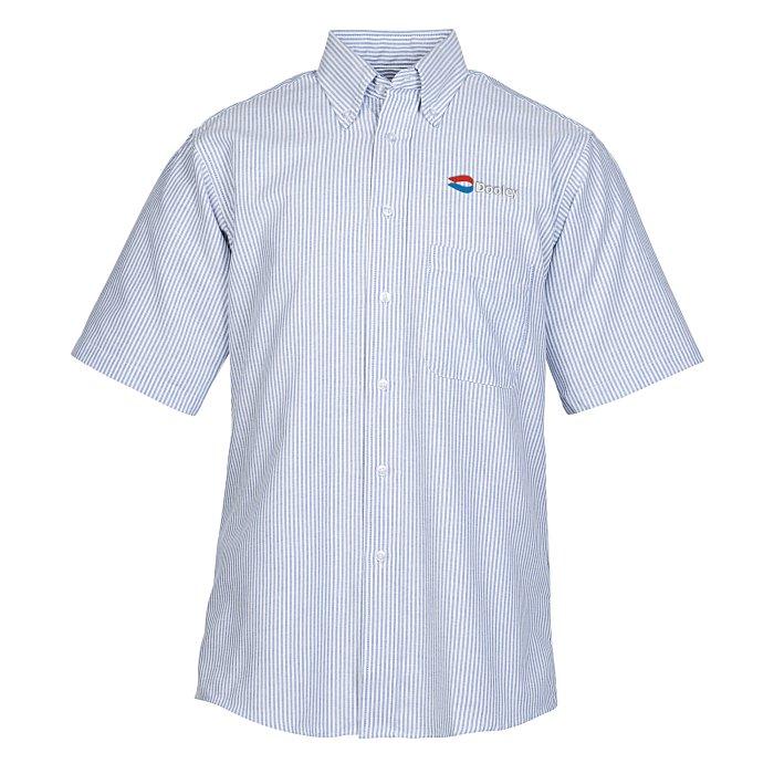 3a9b699420 4imprint.com  Easy Care Short Sleeve Stripe Oxford Shirt - Men s  133542-M-SS-ST