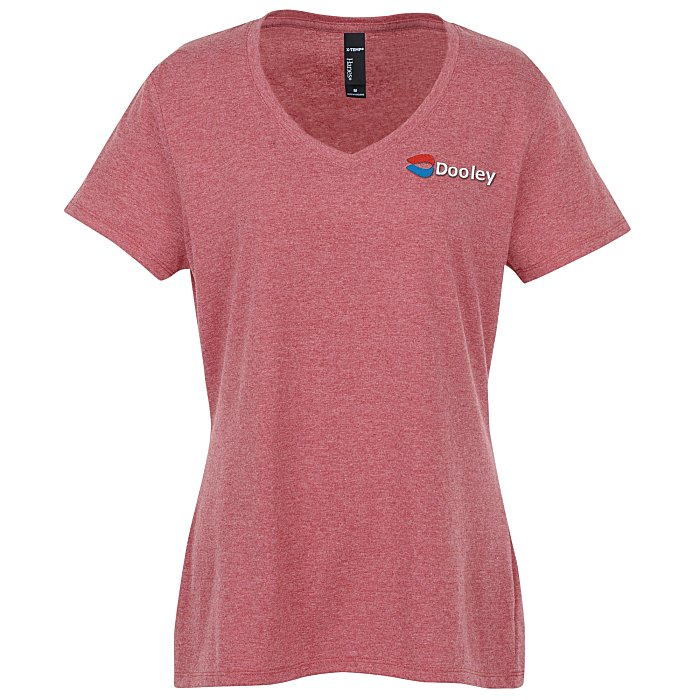 8583701f 4imprint.com: Hanes X-Temp Tri-Blend V-Neck T-Shirt - Ladies' - Embroidered  139756-L-E