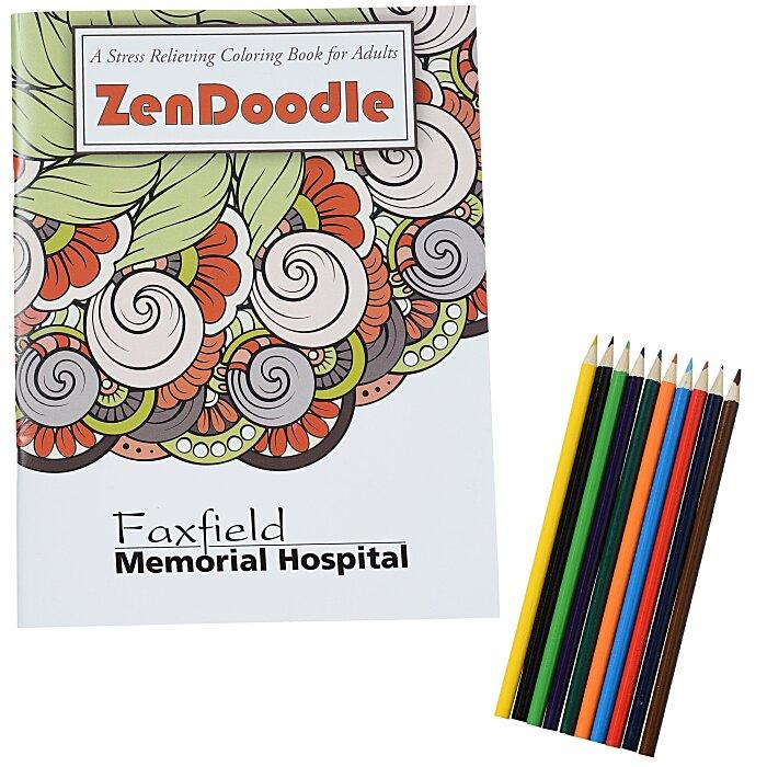 4imprint.com: Stress Relieving Adult Coloring Book & Pencils - Zen Doodle  132537-ZD-SET