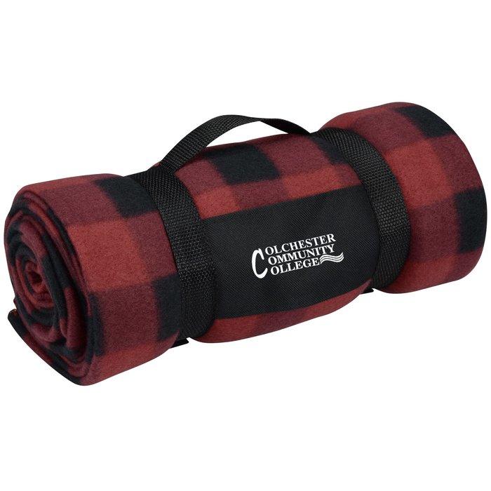 880e76b274 4imprint.com  Galloway Travel Blanket - Red Black Plaid 113249-RBP