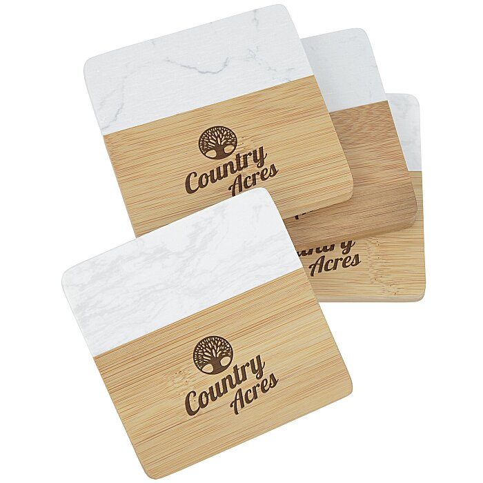 Marble & Bamboo Coaster Set