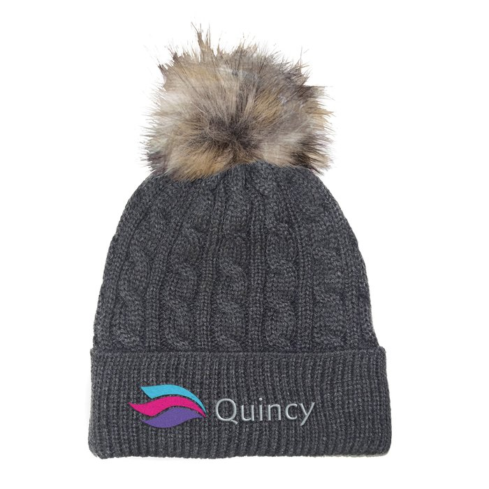 0b7ea94969a 4imprint.com  Cable Knit Beanie with Faux Fur Pom Pom - 24 hr 145285-24HR