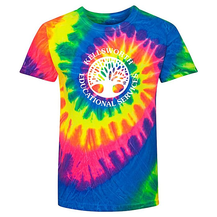 f3891057037 4imprint.com  Dyenomite Tie-Dyed Multicolor Spiral -T-Shirt - Youth -  Screen 112108-Y-S