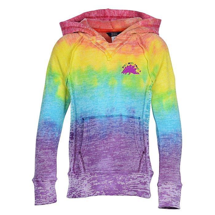MV Sport Rainbow Womens Courtney Burnout Hooded Pullover Blend Fleece
