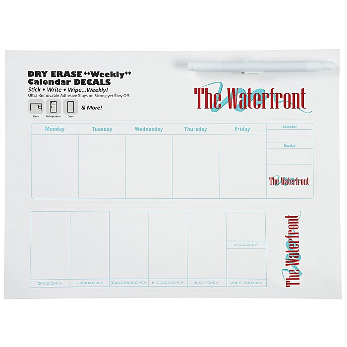 Dry Erase Calendar Canada : Imprint dry erase weekly calendar imprinted