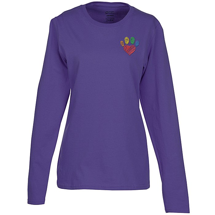 968f41927 Long Sleeve T-Shirt - Ladies  - Colors - Embroidered 118391-L-LS-C-E