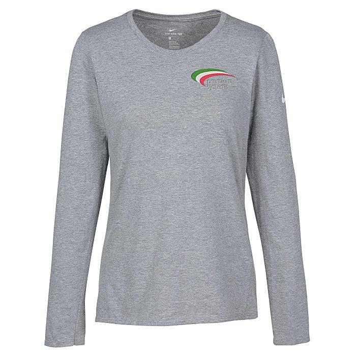 707fbf1bd8d4 4imprint.com  Nike Cotton LS T-Shirt - Ladies  - Embroidered 149390-L-LS-E