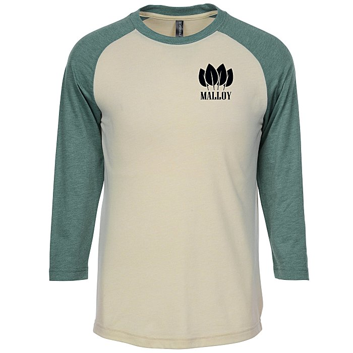 dec33620 4imprint.com: Primease Tri-Blend Raglan 3/4-Sleeve Shirt 151599