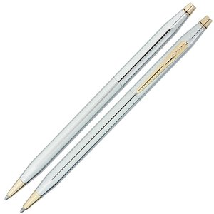 Cross Century Classic Twist Pen - Gold Trim - Chrome Image 1 of 3