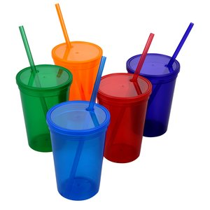 Stadium Cup with Lid & Straw - 16 oz. - Jewel Image 1 of 1