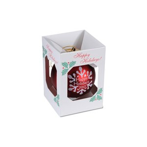 "3-1/4"" Round Ornament - Snowflake- Happy Holidays"