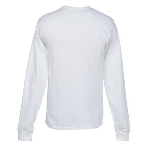 Hanes Tagless LS Pocket T-Shirt - Screen - White