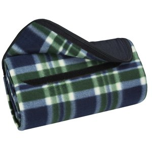 Roll-Up Blanket – Green/Navy Plaid with Navy Flap Image 2 of 3