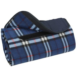 Roll-Up Blanket – Navy/White Plaid with Navy Flap Image 2 of 2