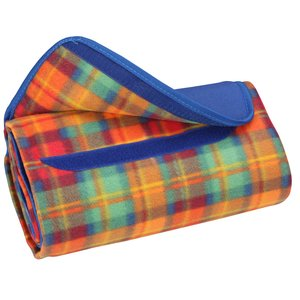 Roll-Up Blanket – Orange Plaid with Royal Flap Image 1 of 2