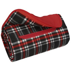 Roll-Up Blanket – Black/Red Plaid with Red Flap Image 1 of 2