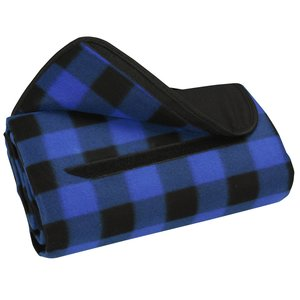 Roll-Up Blanket – Blue/Black Plaid with Black Flap Image 1 of 2