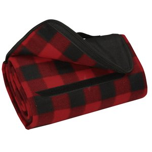 Roll-Up Blanket – Red/Black Plaid with Black Flap Image 1 of 2