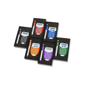 Pocket Oval Calculator / Pen Gift Set Image 1 of 3