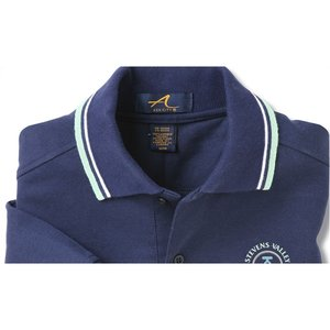 Stripe Collar Trim Pique Polo - Men's Image 1 of 2