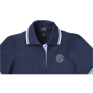 Stripe Collar Trim Pique Polo - Ladies' Image 1 of 2