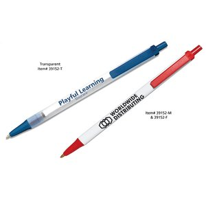 Bic Clic Stic Pen w/Secure Ink - Clear