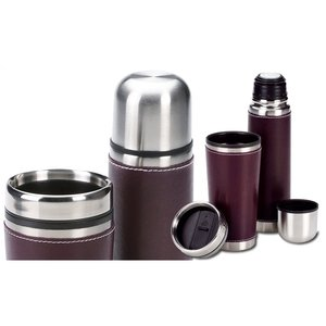 Leatherette Tumbler/Vacuum Bottle Set - Debossed Image 2 of 4