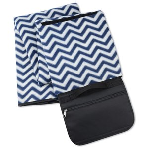 Picnic/Stadium Blanket - Navy Chevron Image 3 of 4