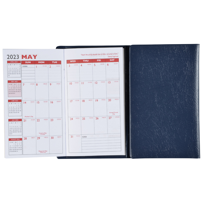 tri fold academic planner with notepad contact book