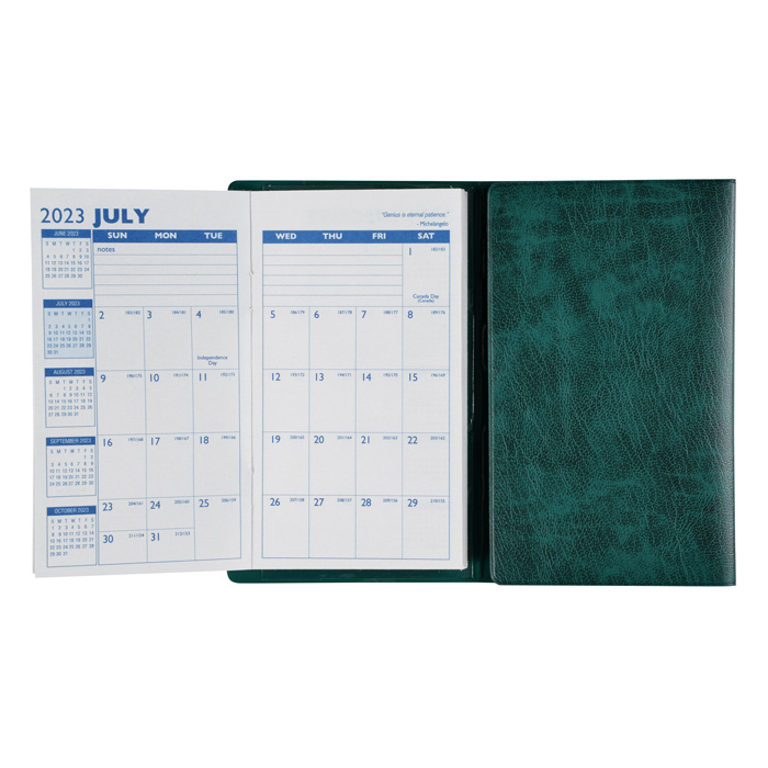 tri fold monthly planner with notepad contact book