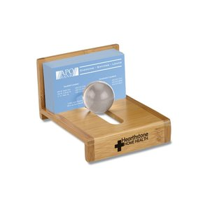 Bamboo Globe Business Card Holder Image 1 of 1