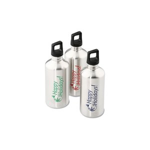 h2go Stainless Bottle - 20 oz. - Happy Holidays - Silver Image 1 of 3