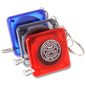 3' Square Tape Measure Keyholder - Translucent Image 1 of 3