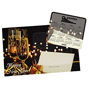Greeting Card with Magnetic Calendar - Champagne Image 1 of 2