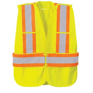 5-Point Vertical Stripe Tear Away Safety Vest - Embroidered