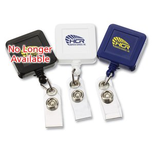 Economy Retractable Badge Holder - Square - Opaque Image 3 of 3