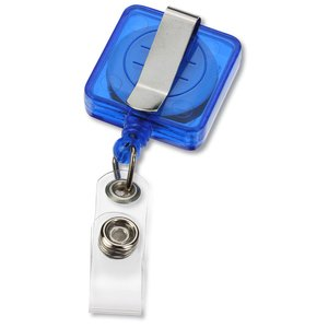 Economy Retractable Badge Holder - Square - Translucent Image 1 of 3