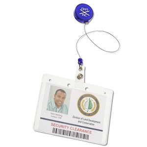 Economy Retractable Badge Holder - Round - Translucent - 24 hr