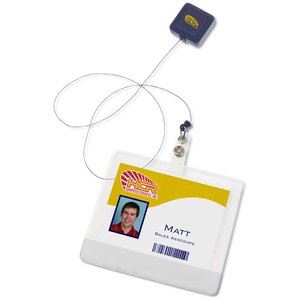 Economy Retractable Badge Holder - Square - Opaque - 24 hr Image 2 of 3