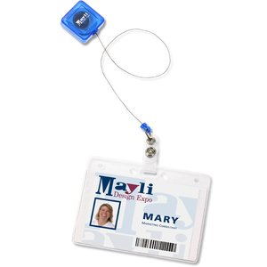 Economy Retractable Badge Holder - Square - Translucent - 24 hr Image 2 of 3