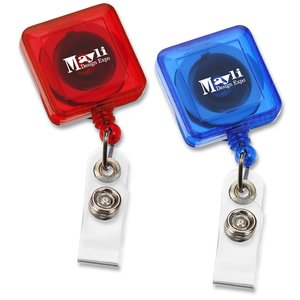 Economy Retractable Badge Holder - Square - Translucent - 24 hr Image 3 of 3