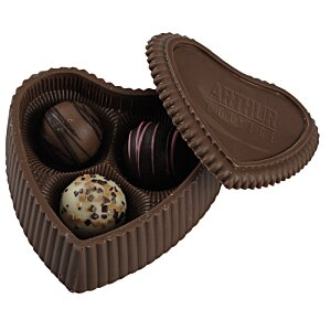 Chocolate Heart Box with Truffles - Silver Box