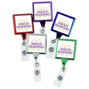 Retractable Badge Holder - Square - Chrome Finish Image 3 of 5