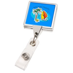 Retractable Badge Holder - Square - Chrome Finish Image 5 of 5